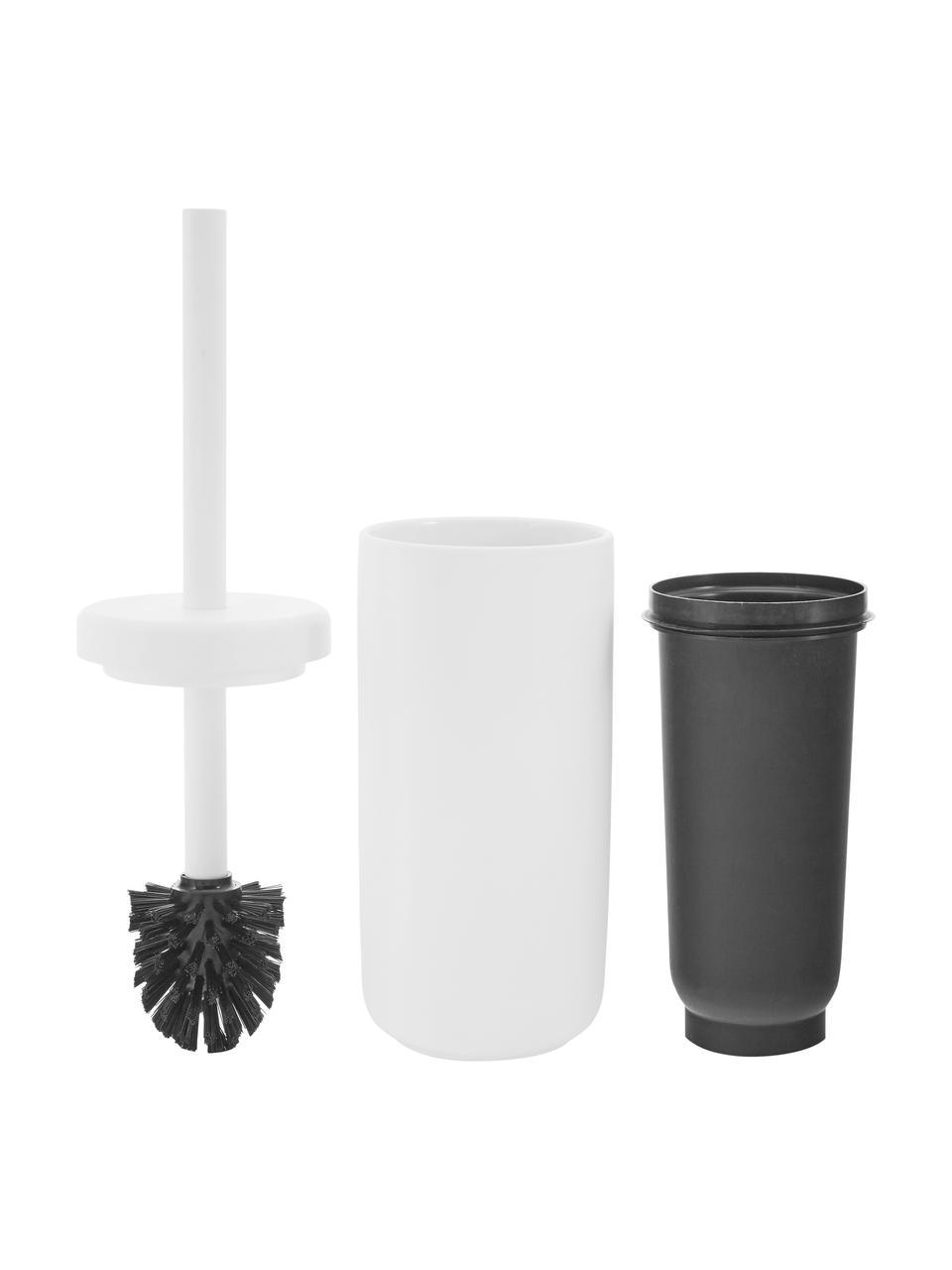 Scopino con contenitore in gres Omega, Contenitore: gres rivestita con superf, Manico: materiale sintetico, Bianco opaco, Ø 10 x Alt. 39 cm