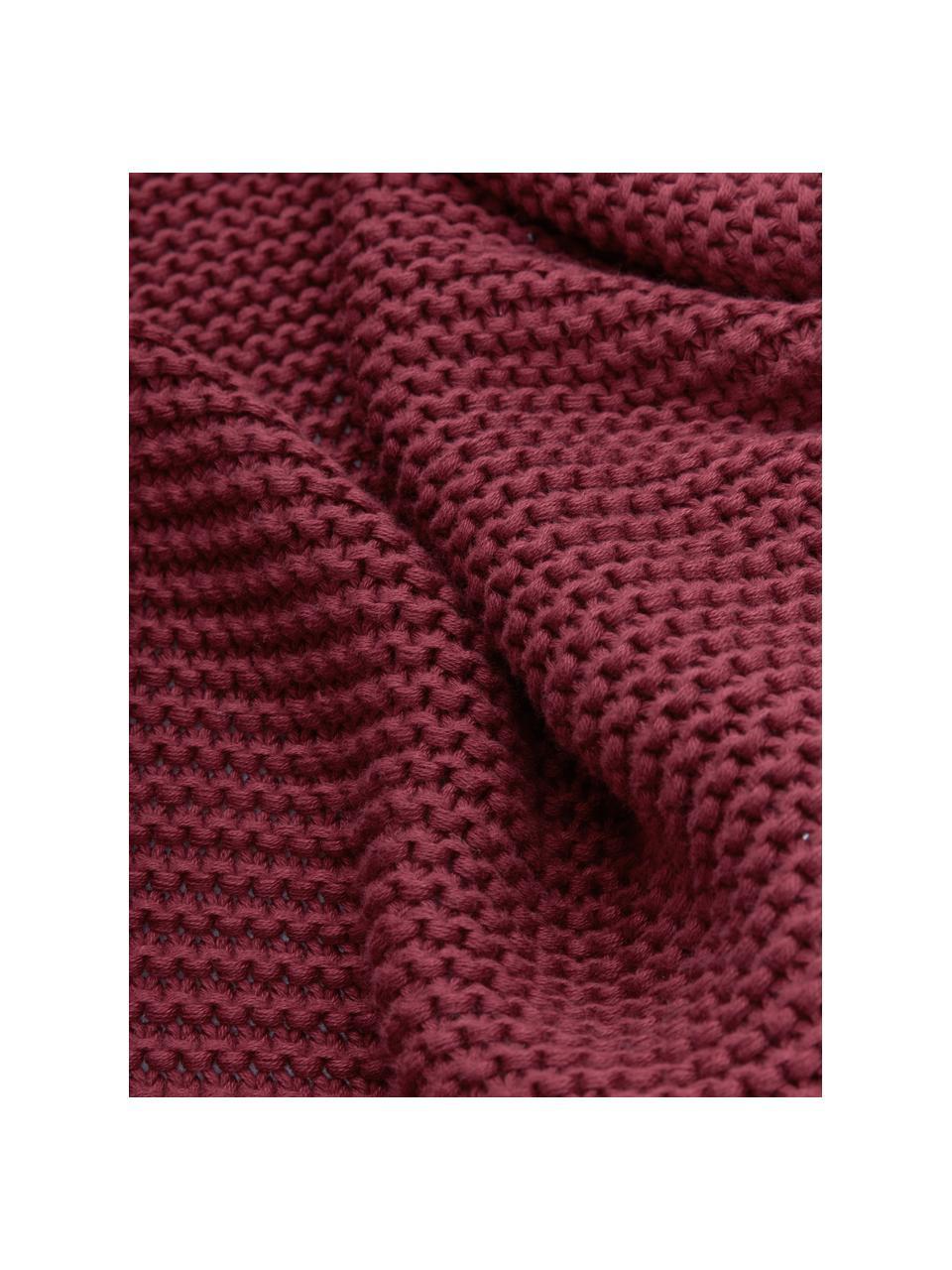 Strickdecke Adalyn aus Bio-Baumwolle in Dunkelrot, 100% Bio-Baumwolle, GOTS-zertifiziert, Dunkelrot, 150 x 200 cm