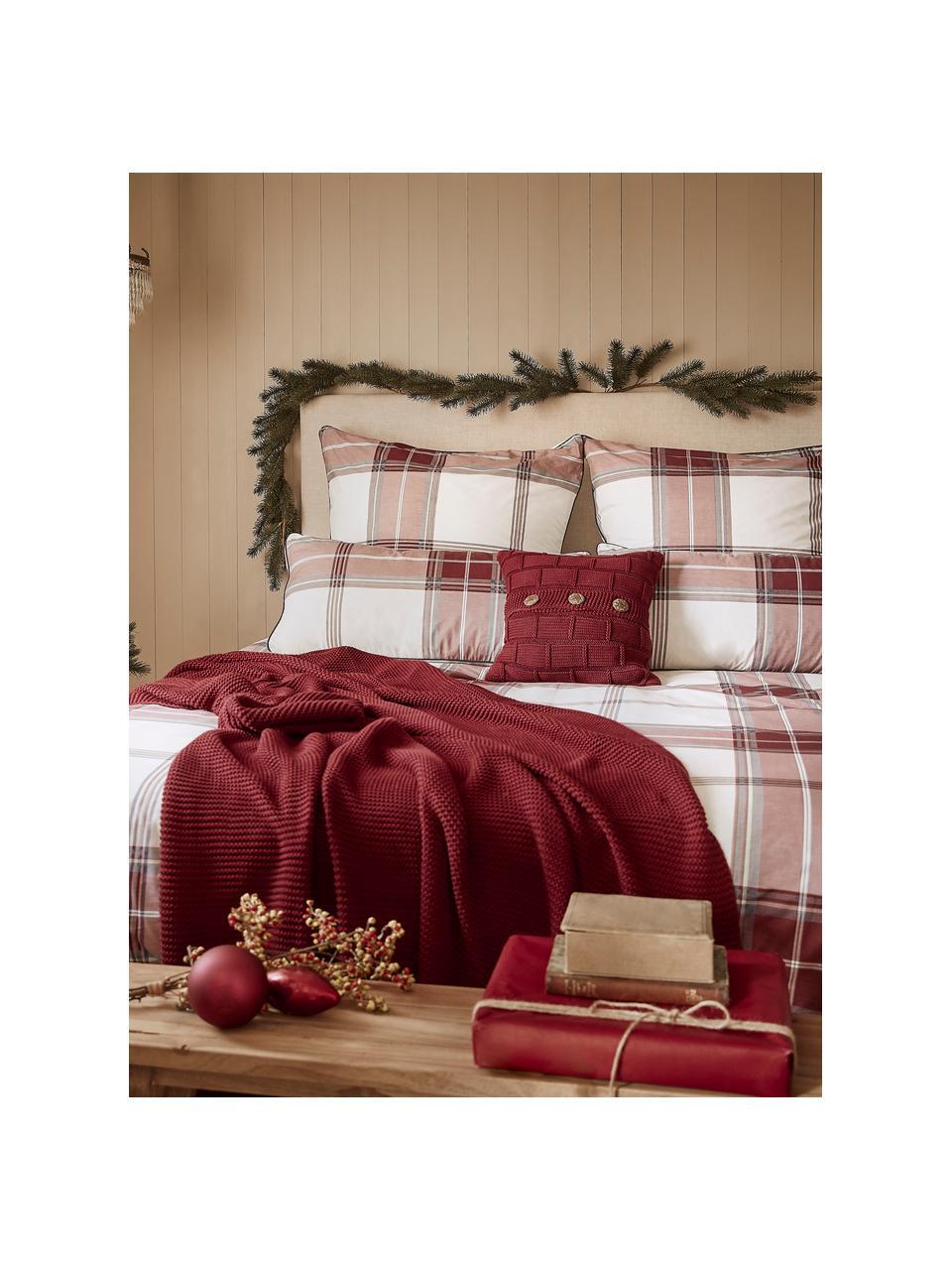 Coperta a maglia in cotone biologico rosso scuro Adalyn, 100% cotone biologico, certificato GOTS, Rosso scuro, Larg. 150 x Lung. 200 cm