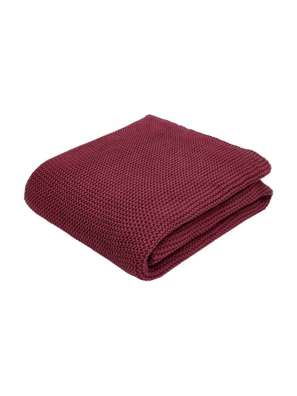 Dzianinowy koc z bawełny organicznej  Adalyn, 100% bawełna organiczna, certyfikat GOTS, Ciemny czerwony, S 150 x D 200 cm