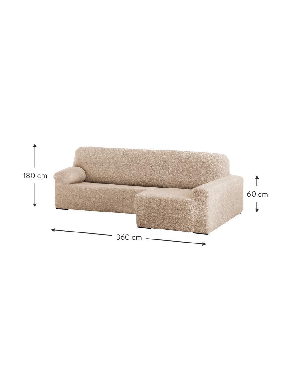 Copertura divano angolare Roc, 55% poliestere, 35% cotone, 10% elastomero, Beige, Larg. 360 x Alt. 180 cm