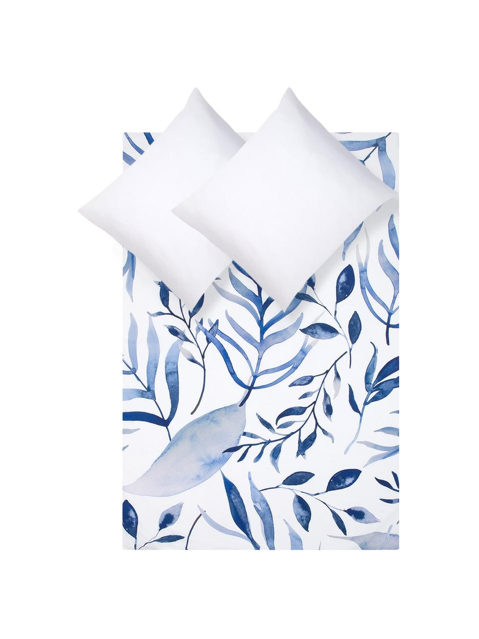 Perkal dekbedovertrek Francine, Weeftechniek: perkal Draaddichtheid 180, Bovenzijde: blauw, wit. Onderzijde: wit, 240 x 220 cm