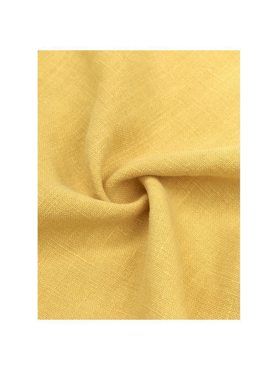 Poszewka na poduszkę z lnu z frędzlami Luana, 100% len, Żółty, S 40 x D 40 cm