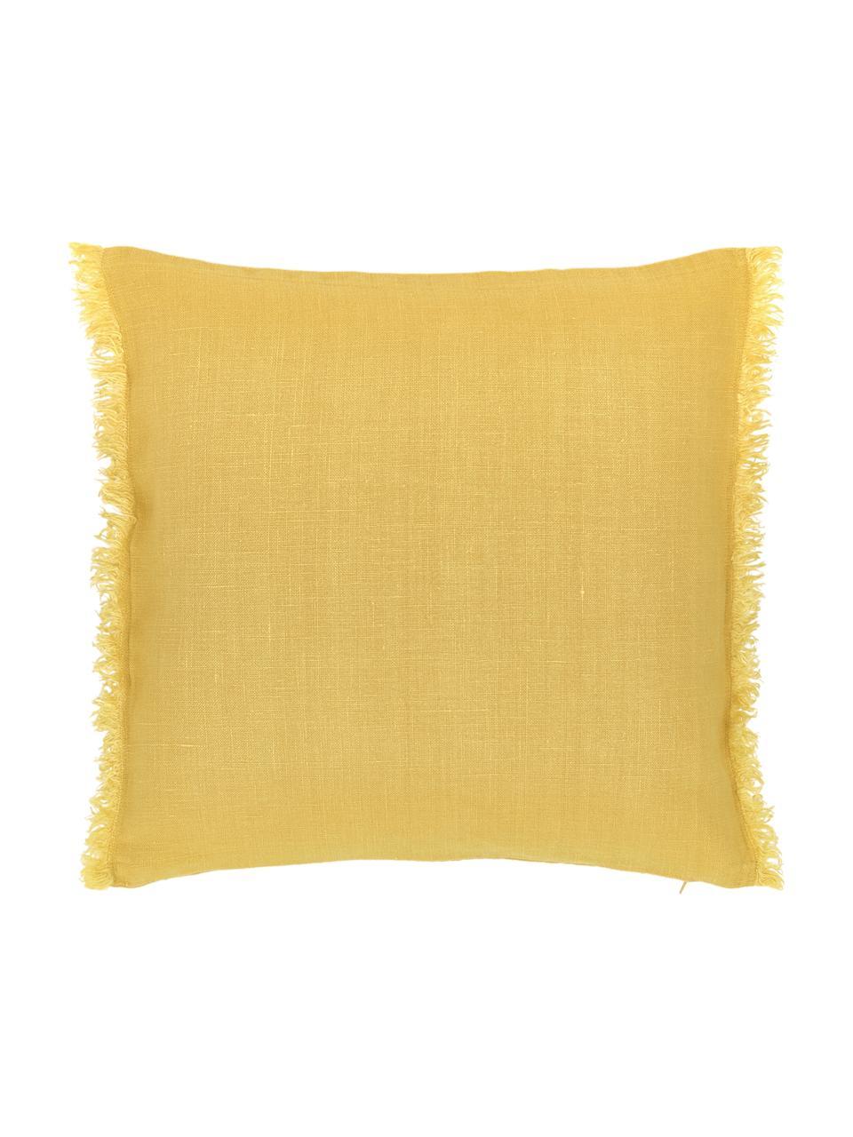 Leinen-Kissenhülle Luana in Gelb mit Fransen, 100% Leinen, Gelb, 40 x 40 cm