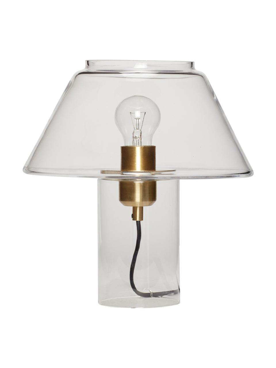 Lampada da tavolo in vetro trasparente Gluni, Paralume: vetro, Base della lampada: vetro, Trasparente, Ø 27 x Alt. 29 cm