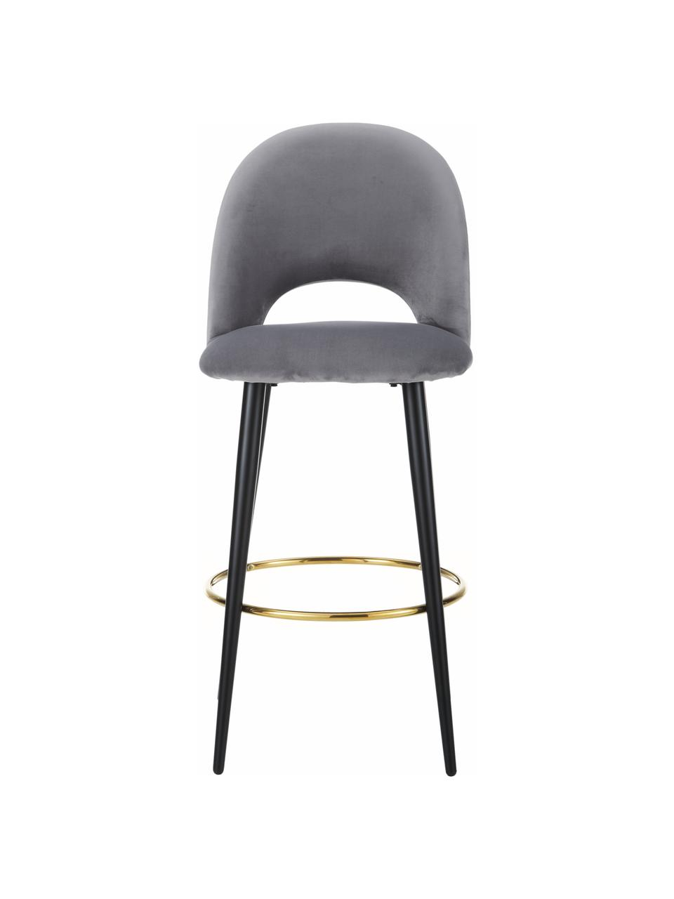 Sedia da bar in velluto grigio Rachel, Rivestimento: velluto (rivestimento in , Gambe: metallo verniciato a polv, Velluto grigio acciaio, Larg