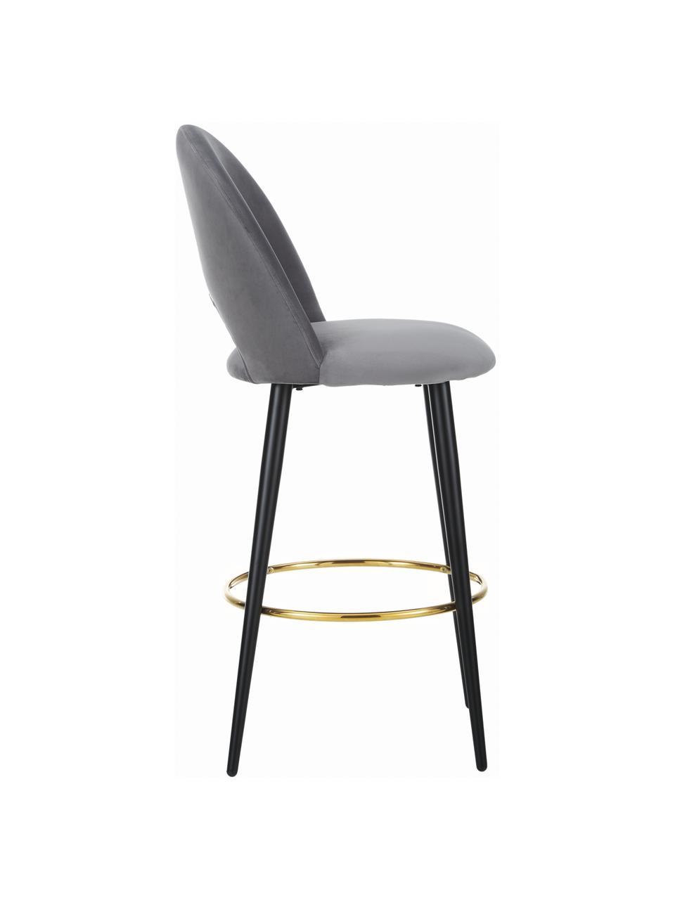 Krzesło barowe z aksamitu Rachel, Tapicerka: aksamit (poliester) 5000, Nogi: metal malowany proszkowo, Aksamitny stalowoszary, S 48 x W 110 cm