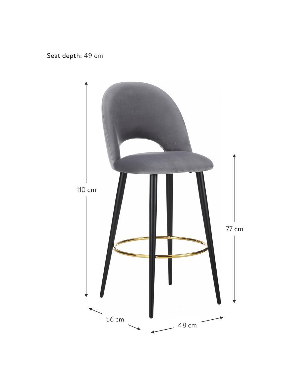 Krzesło barowe z aksamitu Rachel, Tapicerka: aksamit (wysokiej jakości, Nogi: metal malowany proszkowo, Aksamitny stalowoszary, S 48 x W 110 cm