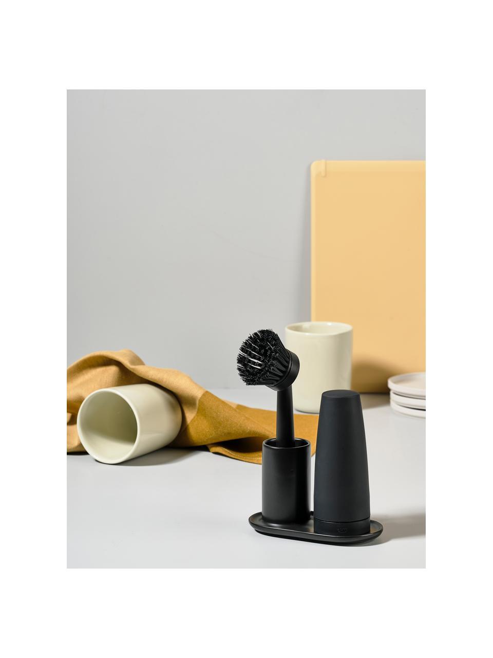 Set dispenser di detersivo con spazzola Plain 3 pz, Ceramica, materiale sintetico (ABS), silicone, Nero, Larg. 15 x Prof. 8 cm