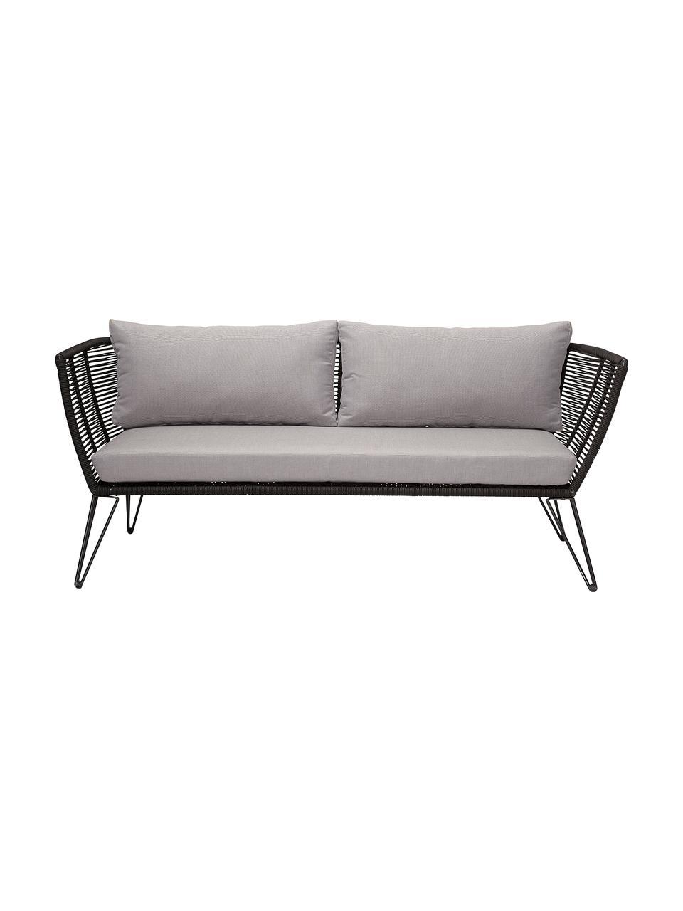 Canapé lounge jardin plastique tressé Mundo, Beige