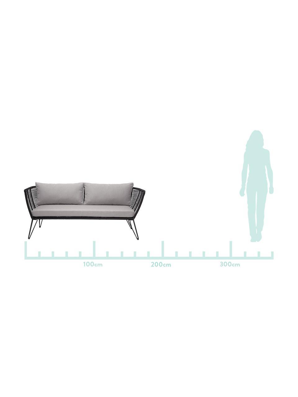 Sofa ogrodowa ze splotu z tworzywa sztucznego Mundo (2-osobowa), Stelaż: metal malowany proszkowo, Tapicerka: poliester, Beżowy, S 175 x G 74 cm