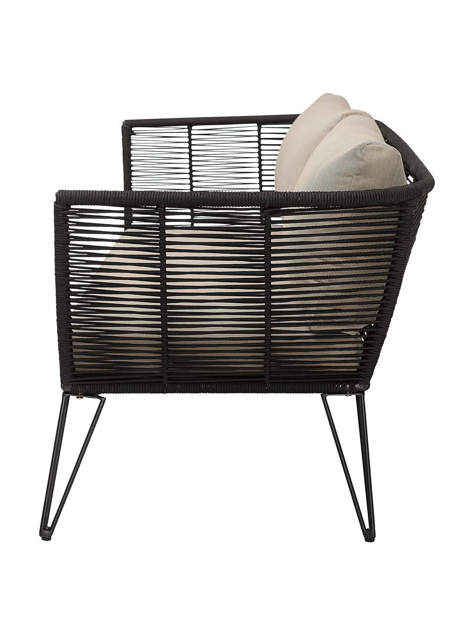 Garten-Loungesofa Mundo mit Kunststoff-Geflecht (2-Sitzer), Gestell: Metall, pulverbeschichtet, Sitzfläche: Polyethylen, Bezug: Polyester, Beige, B 175 x T 74 cm