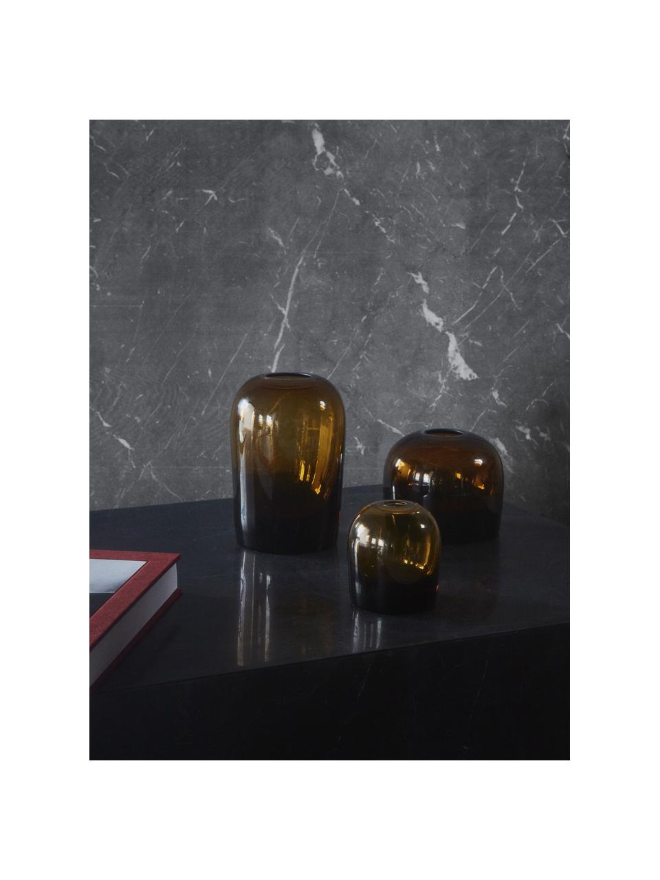 Vaso elegante in vetro soffiato Troll, Vetro soffiato, Ambra, Ø 13 x Alt. 19 cm