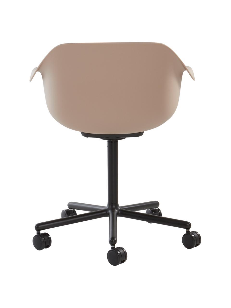 Silla de oficina giratoria Warrington, Asiento: polipropileno, Estructura: aluminio, Beige, negro, An 57 x F 63 cm