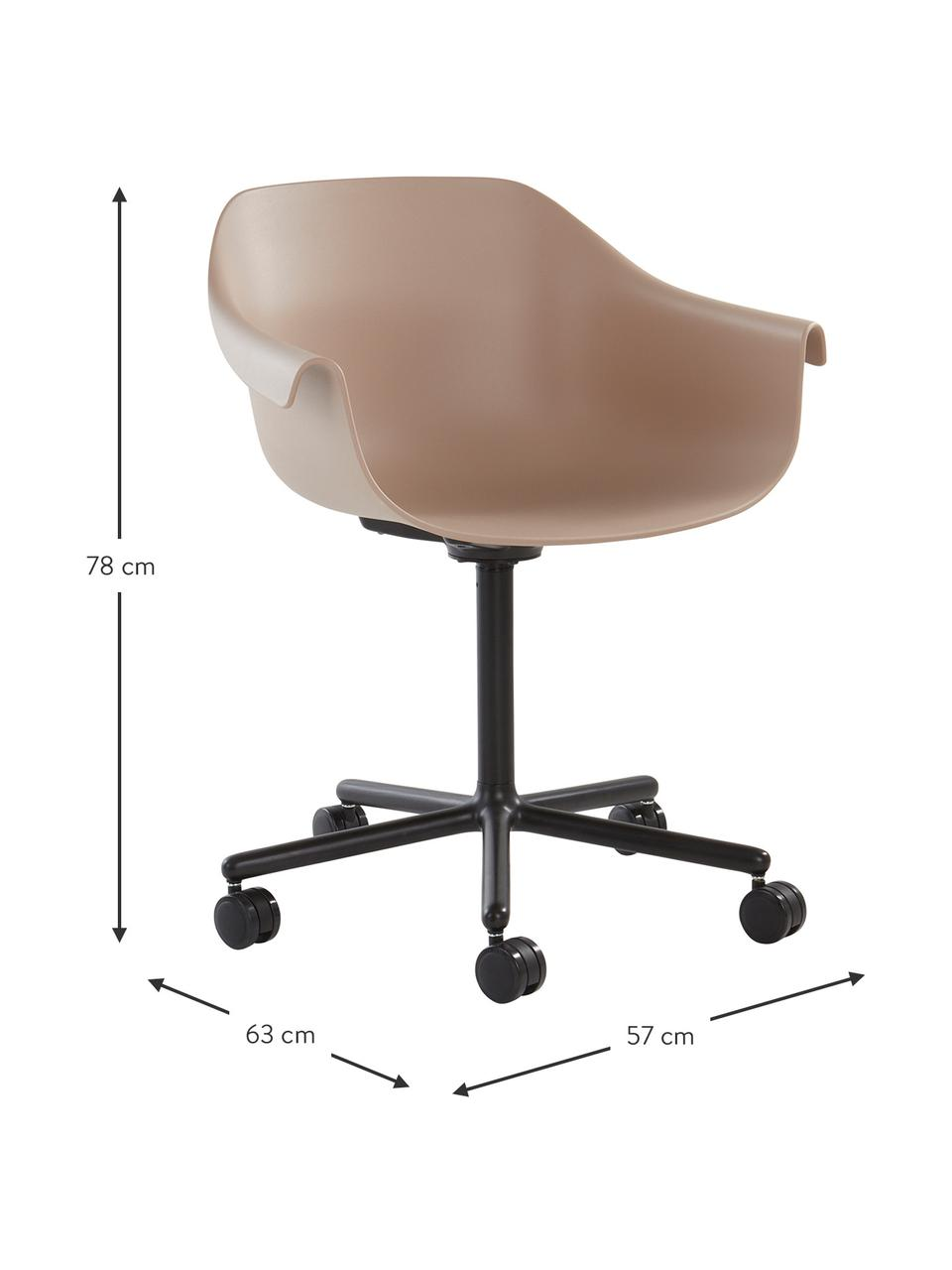 Sedia da ufficio Warrington, Seduta: polipropilene, Struttura: alluminio, Beige, nero, Larg. 57 x Prof. 63 cm