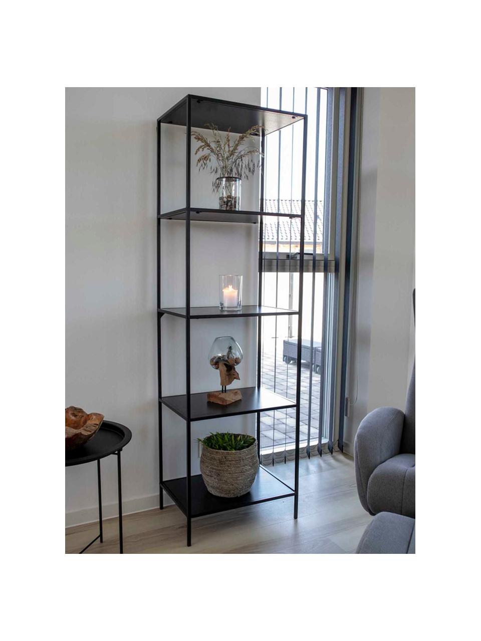 Standregal Vita, Gestell: Stahl, beschichtet, Einlegeböden: Spannplatte, melaminbesch, Schwarz, 51 x 170 cm