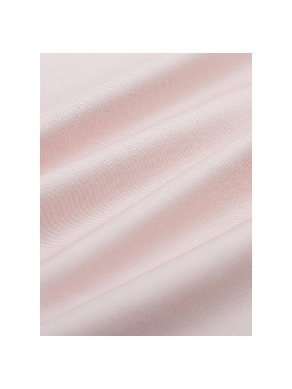 Prześcieradło z gumką  z organicznej satyny bawełnianej Premium, Blady różowy, S 180 x D 200 cm