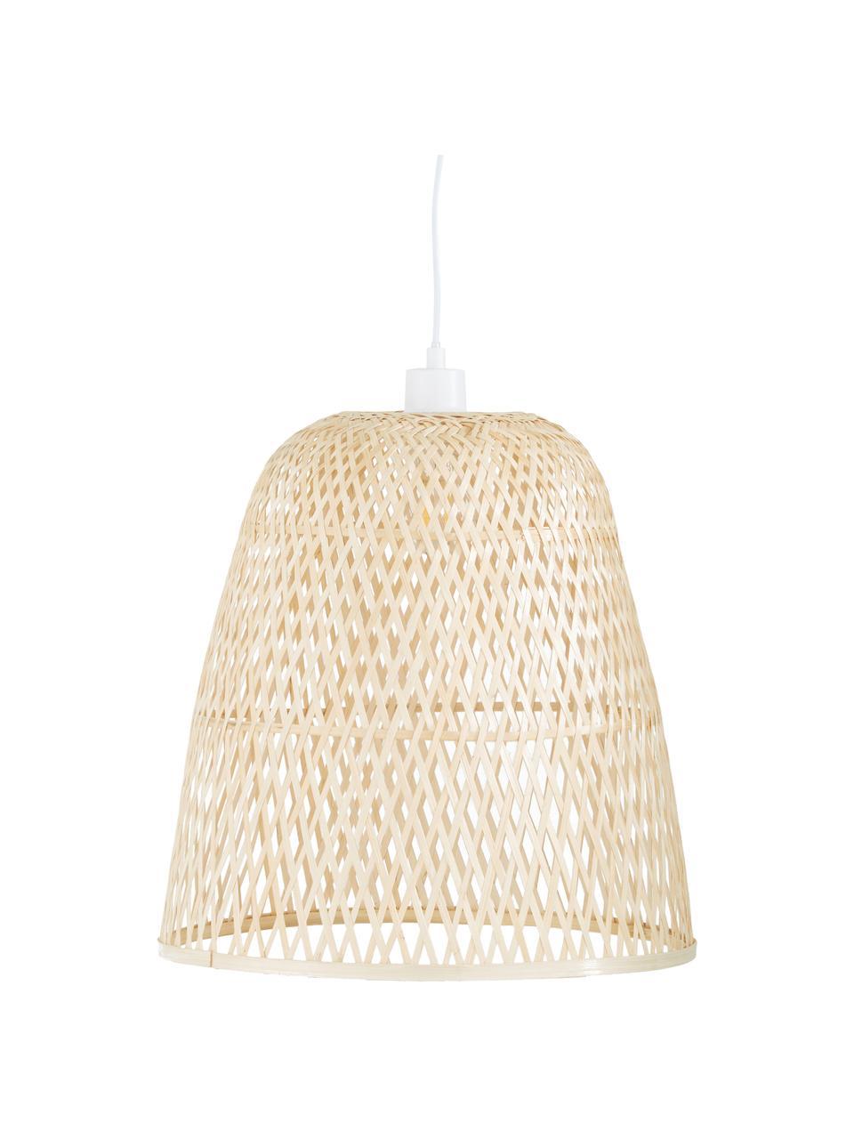 Handgefertigte Pendelleuchte Eve aus Bambus, Lampenschirm: Bambus, Baldachin: Metall, pulverbeschichtet, Bambus, Ø 40 x H 40 cm