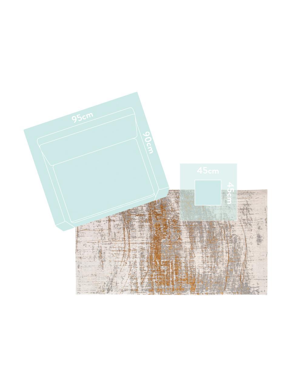 Vloerkleed Griff, Bovenzijde: 85%katoen, 15%hoogglanz, Weeftechniek: jacquard, Onderzijde: katoenmix, gecoat met lat, Grijs, goudkleurig, wit, B 170 x L 240 cm (maat M)