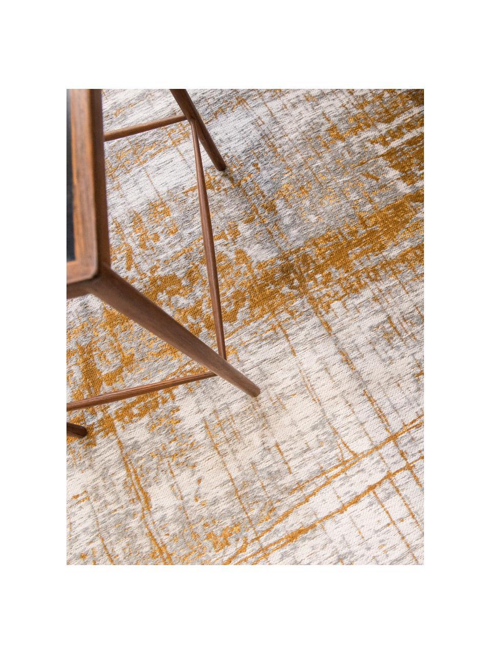 Design Teppich Griff im Vintage Style, Flor: 85%Baumwolle, 15%hochgl, Webart: Jacquard, Grau, Goldfarben, Weiß, B 200 x L 280 cm (Größe L)