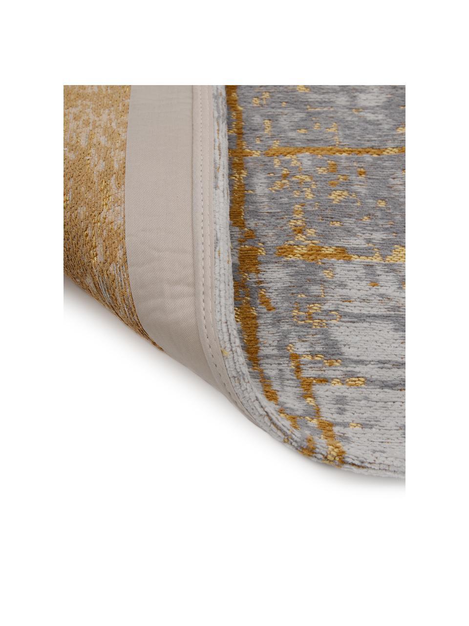 Design vloerkleed Griff in vintage stijl, Bovenzijde: 85%katoen, 15%hoogglanz, Weeftechniek: jacquard, Onderzijde: katoenmix, latex coating, Grijs, goudkleurig, wit, B 170 x L 240 cm (maat M)