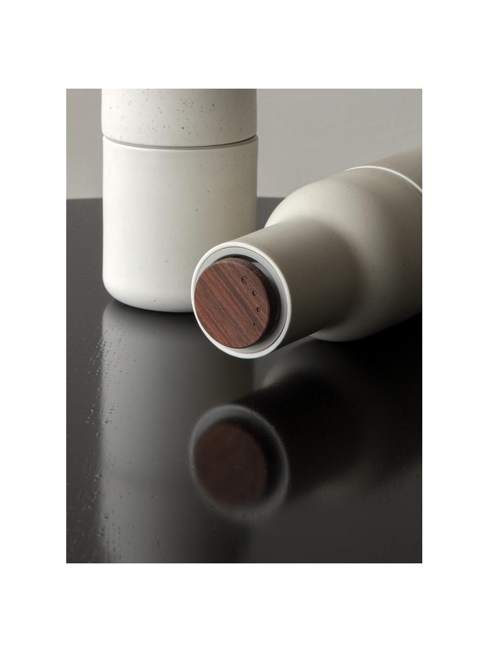 Designer Keramik-Salz- & Pfeffermühle Bottle Grinder in Beige mit Walnussholzdeckel, Korpus: Keramik, Mahlwerk: Keramik, Deckel: Walnussholz, Beigetöne, Ø 8 x H 21 cm
