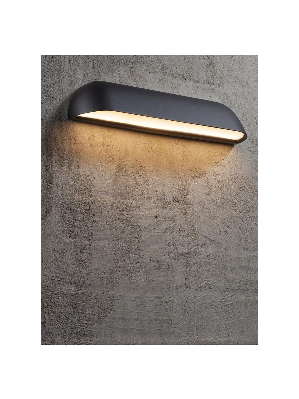 Design LED-Wandleuchte Front, Lampenschirm: Stahl, lackiert, Schwarz Diffusor: Weiß, milchig-transparent, 36 x 7 cm