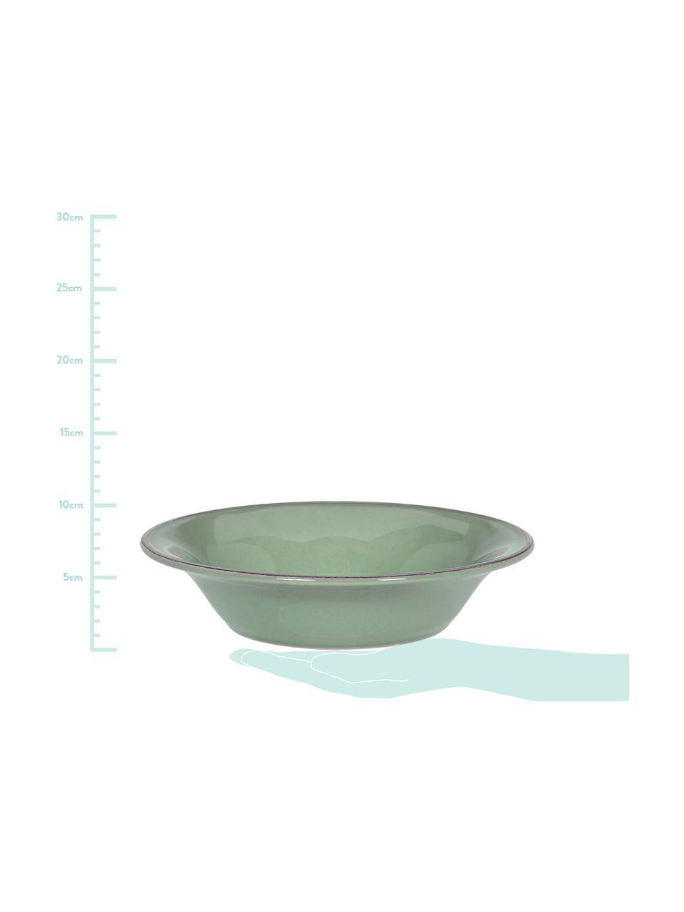 Schalen Constance im Landhaus Style, 2 Stück, Steingut, Salbeigrün, Ø 19 x H 5 cm