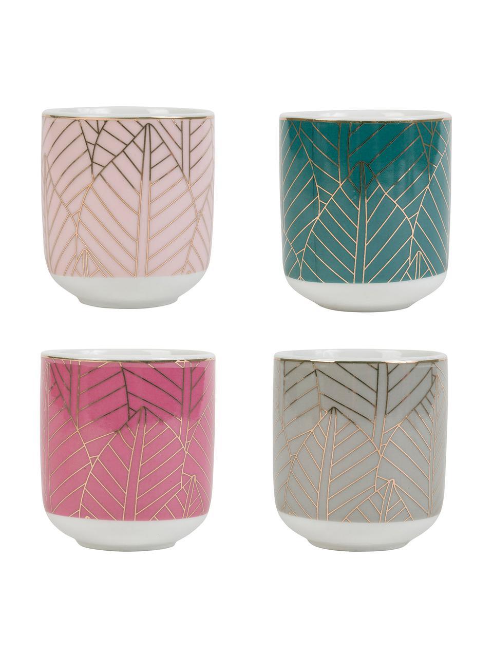 Set 4  tazze da espresso senza manico Orfe, Multicolore, Ø 6 x Alt. 7 cm