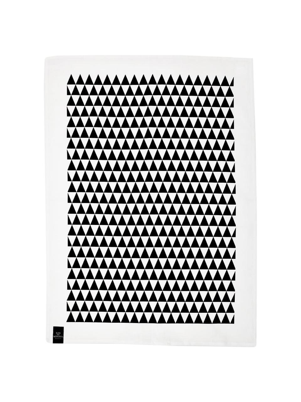 Halbleinen-Geschirrtücher Dreieck, 2 Stück, 50% Leinen, 50% Baumwolle, Weiß, Schwarz, 50 x 70 cm