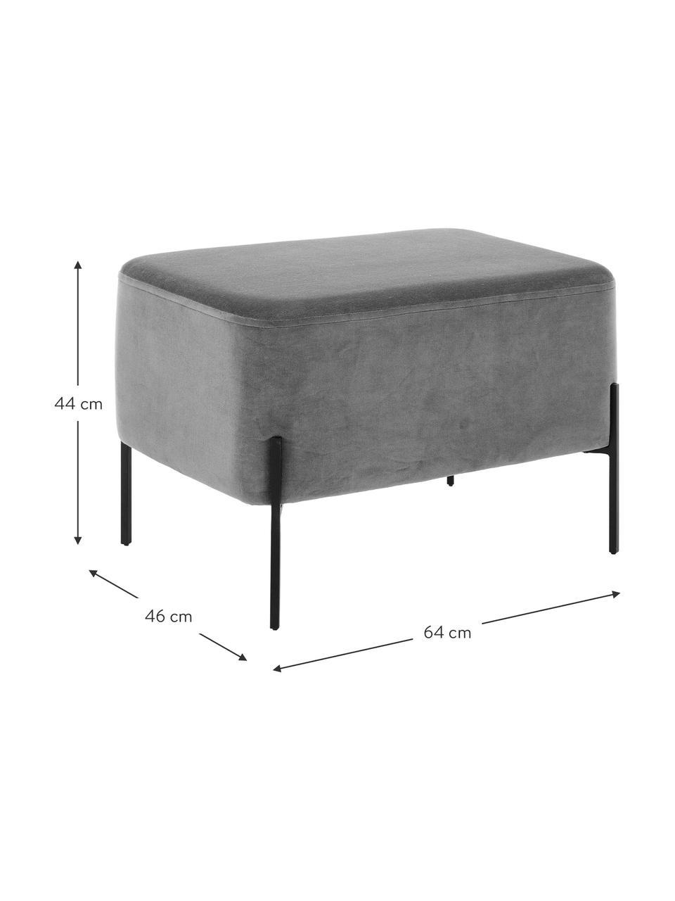 Breiter Samt-Hocker Harper, Bezug: Baumwollsamt, Fuß: Metall, pulverbeschichtet, Samt Grau, Schwarz, 64 x 44 cm