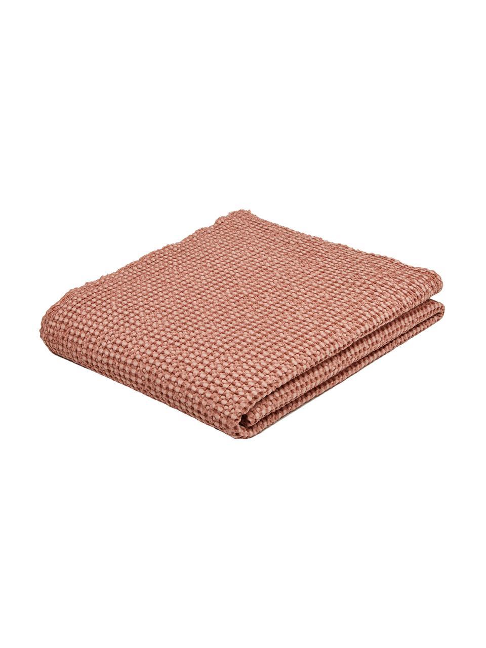 Couvre-lit coton rose à surface texturée Vigo, Rose clair