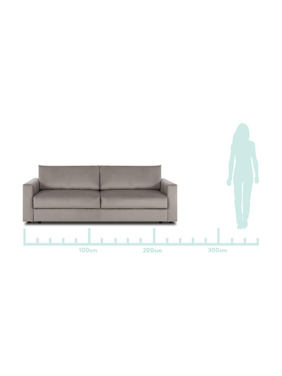 Sofa z aksamitu z funkcją spania Tasha, Tapicerka: aksamit (100% poliester) , Stelaż: lite drewno sosnowe, skle, Nogi: tworzywo sztuczne, Aksamitny beżowy, S 235 x G 100 cm
