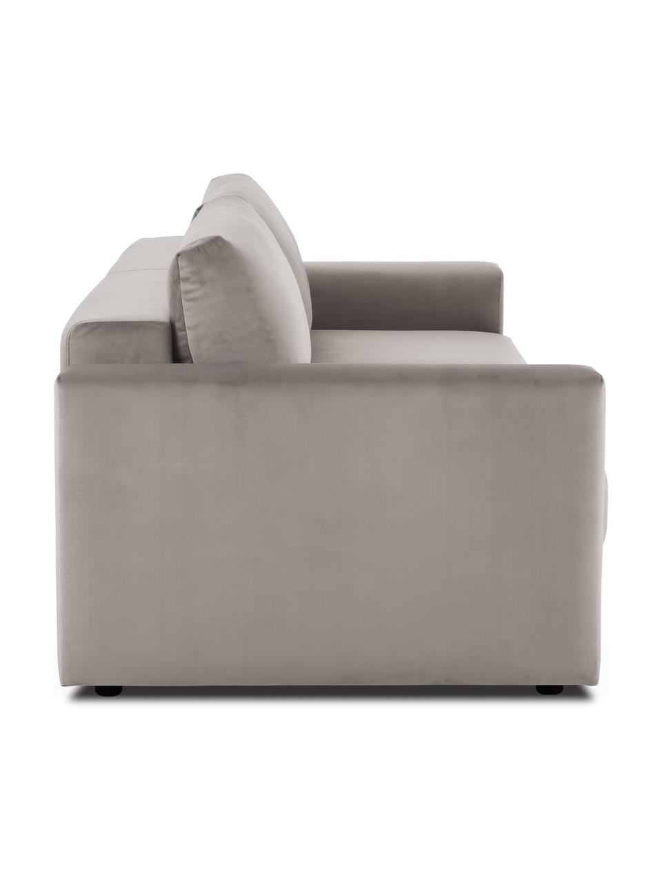 Fluwelen slaapbank Tasha in taupe, Bekleding: fluweel (100% polyester), Frame: massief grenenhout, multi, Poten: kunststof, Fluweel beige, 235 x 100 cm