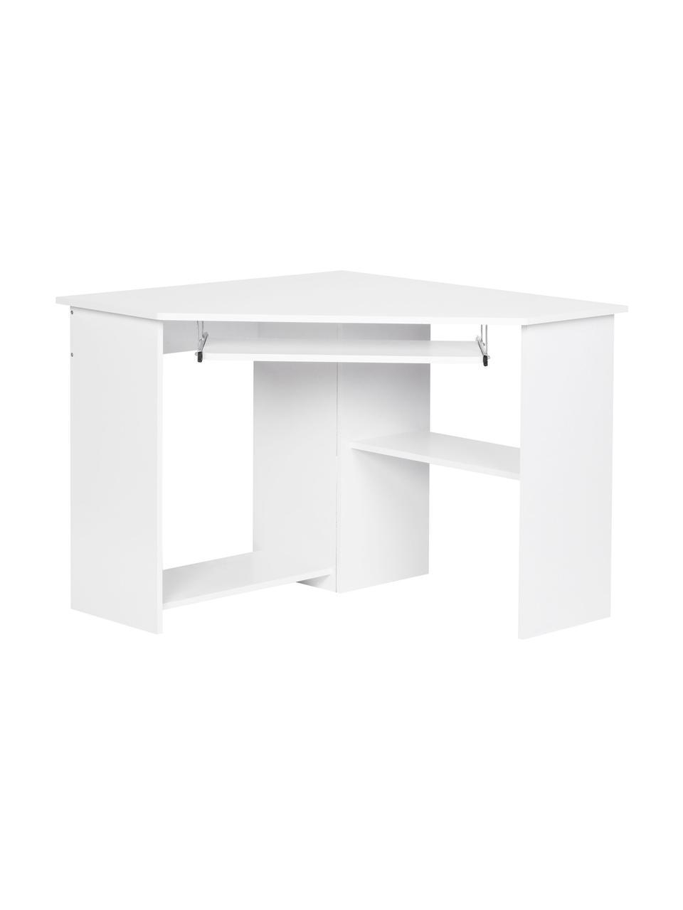 Wit hoekbureau Roman met toetsenbordverlenging, Gelakt MDF Metalen rails, Mat wit, B 127 x D 89 cm