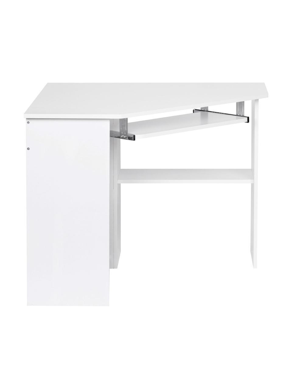 Weißer Eckschreibtisch Roman mit Tastaturauszug, Mitteldichte Holzfaserplatte, lackiert Metallschienen, Weiß, matt, B 127 x T 89 cm