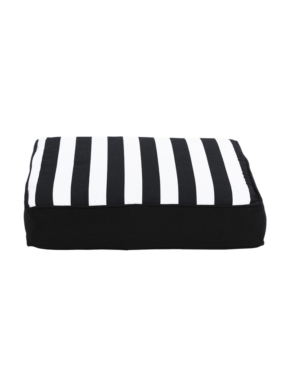 Hohes Sitzkissen Timon in Schwarz/Weiß, gestreift, Bezug: 100% Baumwolle, Schwarz, 40 x 40 cm