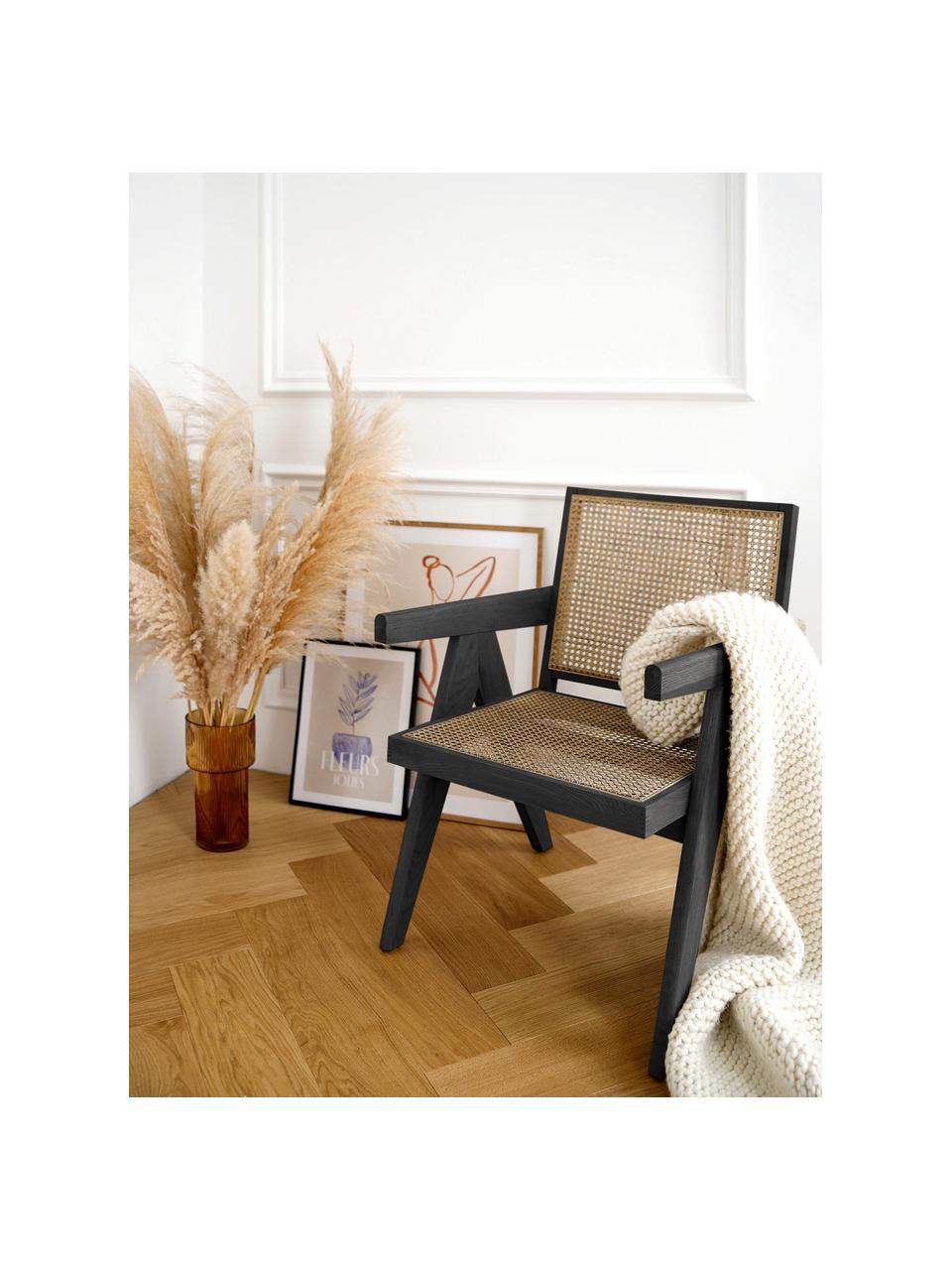 Fotel wypoczynkowy z plecionką wiedeńską Sissi, Stelaż: drewno bukowe, lakierowan, Czarny, beżowy, S 58 x G 66 cm