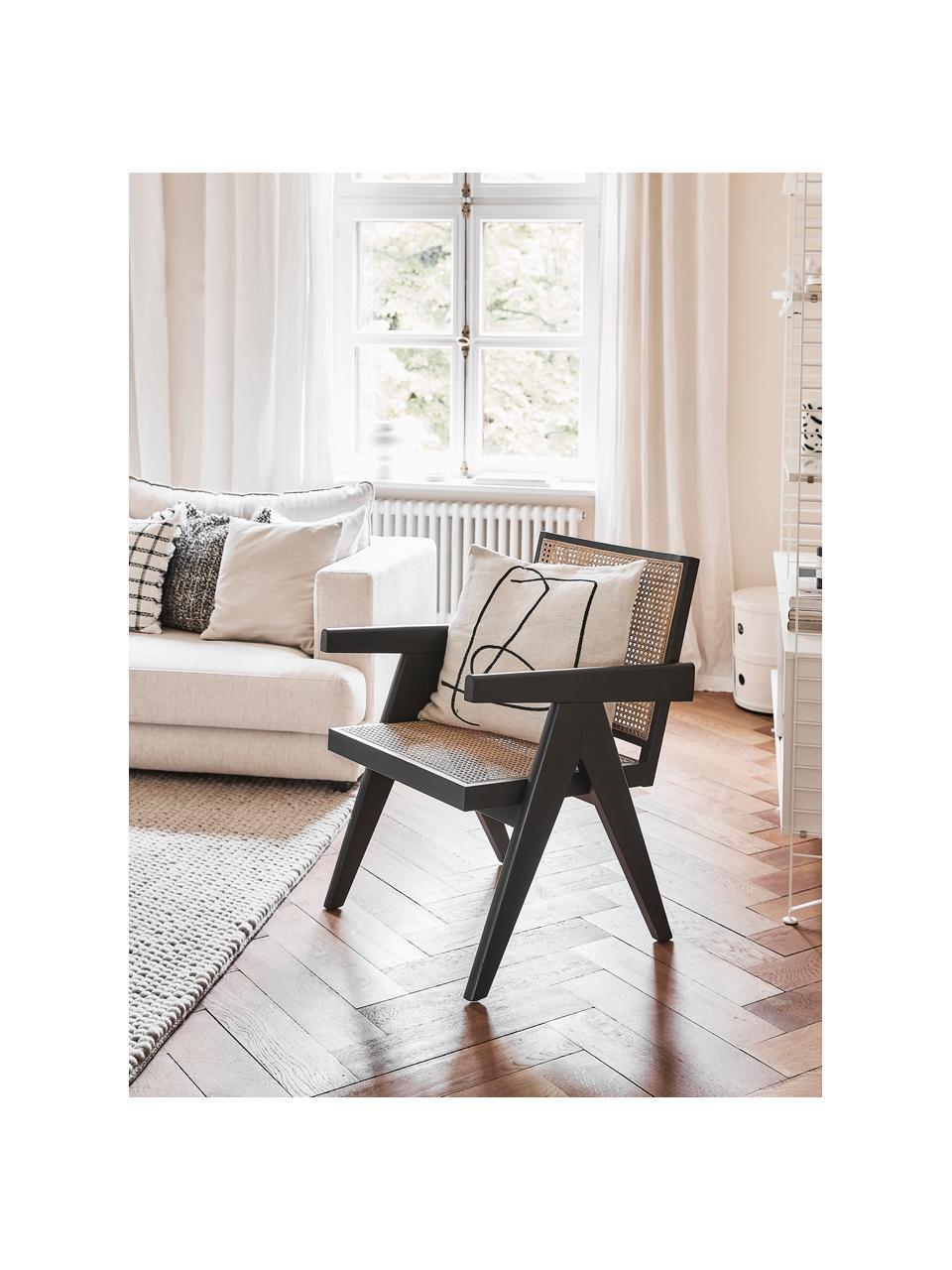 Loungefauteuil Sissi met Weens vlechtwerk, Frame: massief gelakt beukenhout, Zitvlak: rotan, Beukenhout, B 58 x D 66 cm