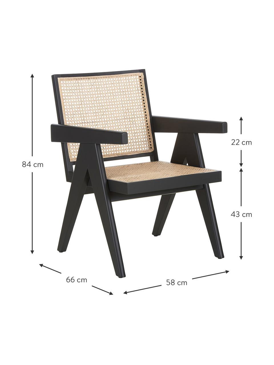 Sedia a poltrona con intreccio viennese Sissi, Struttura: legno verniciato di faggi, Seduta: rattan, Legno di faggio, Larg. 58 x Prof. 66 cm