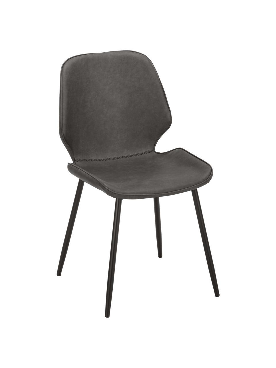 Krzesło tapicerowane ze sztucznej skóry  Louis, 2 szt., Tapicerka: sztuczna skóra (65% polie, Nogi: metal malowany proszkowo, Szary, S 44 x G 58 cm