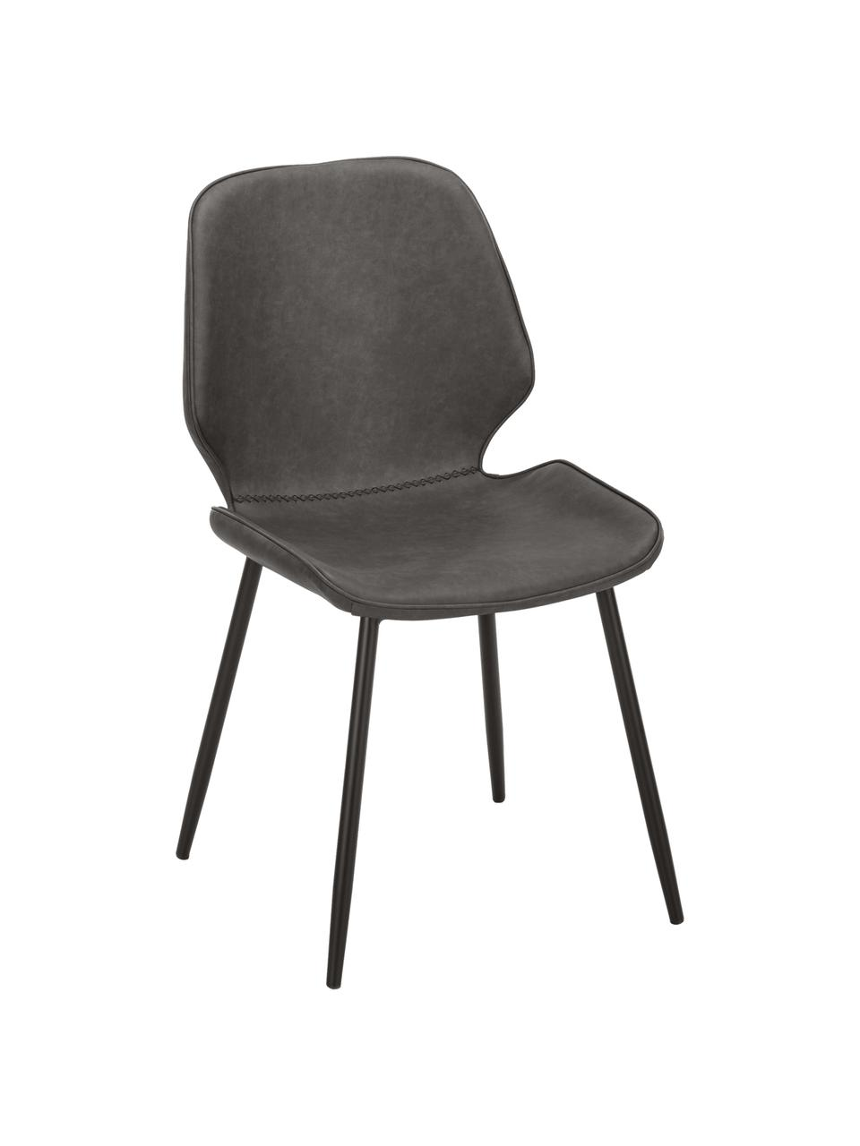 Kunstleren gestoffeerde stoelen Louis, 2 stuks, Bekleding: kunstleer (65% polyethyle, Poten: gepoedercoat metaal, Kunstleer donkergrijs, B 44 x D 58 cm