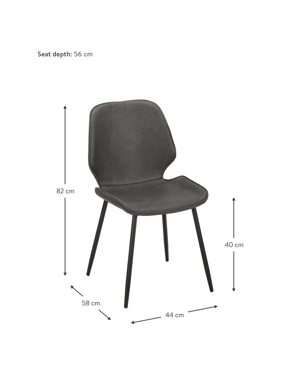 Kunstleder-Polsterstühle Louis, 2 Stück, Bezug: Kunstleder (65% Polyethyl, Beine: Metall, pulverbeschichtet, Kunstleder Dunkelgrau, B 44 x T 58 cm