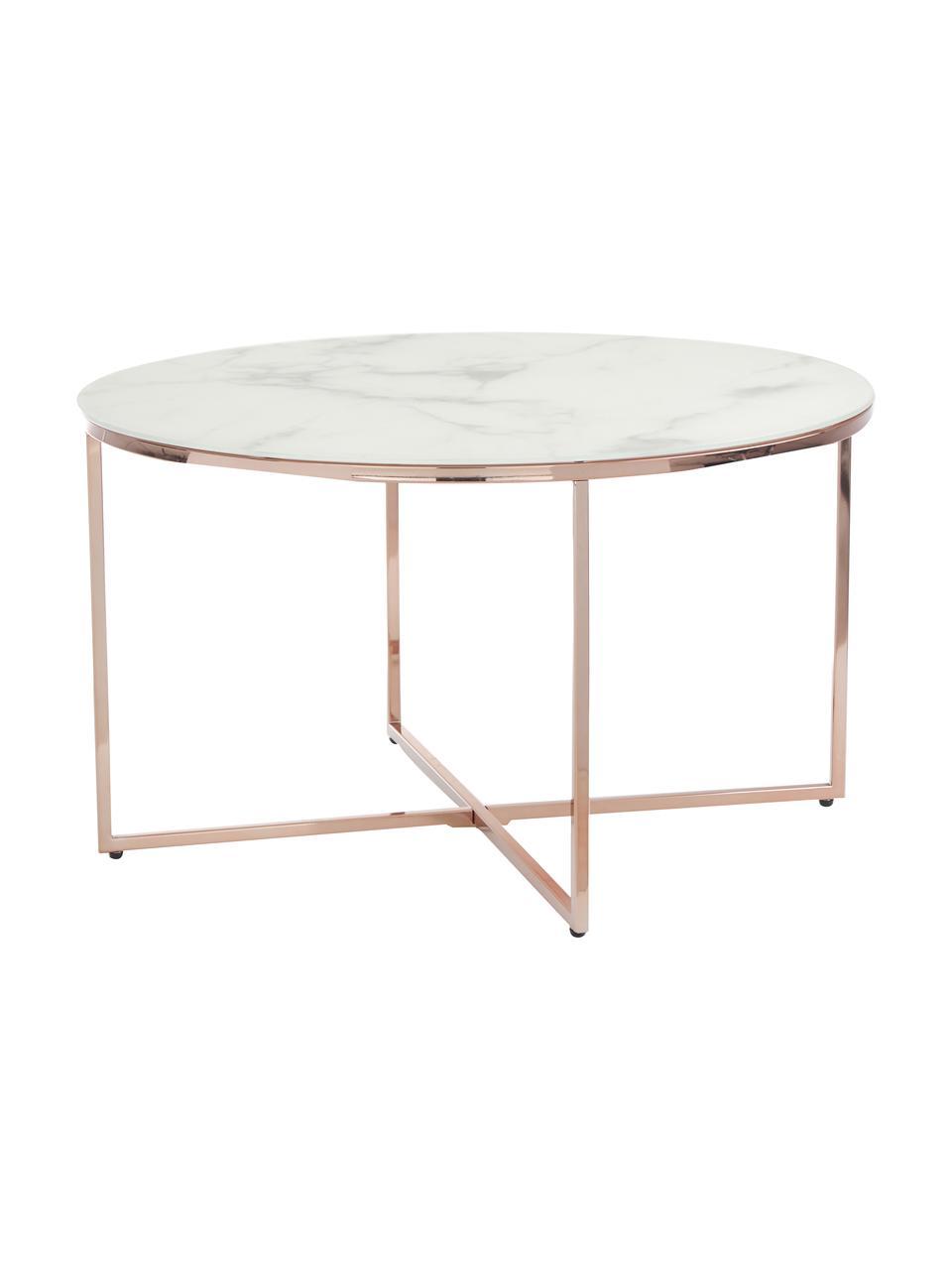 Tavolino da salotto con piano in vetro effetto marmo Antigua, Struttura: acciaio ottonato, Bianco-grigio marmorizzato, rosato, Ø 80 x Alt. 45 cm