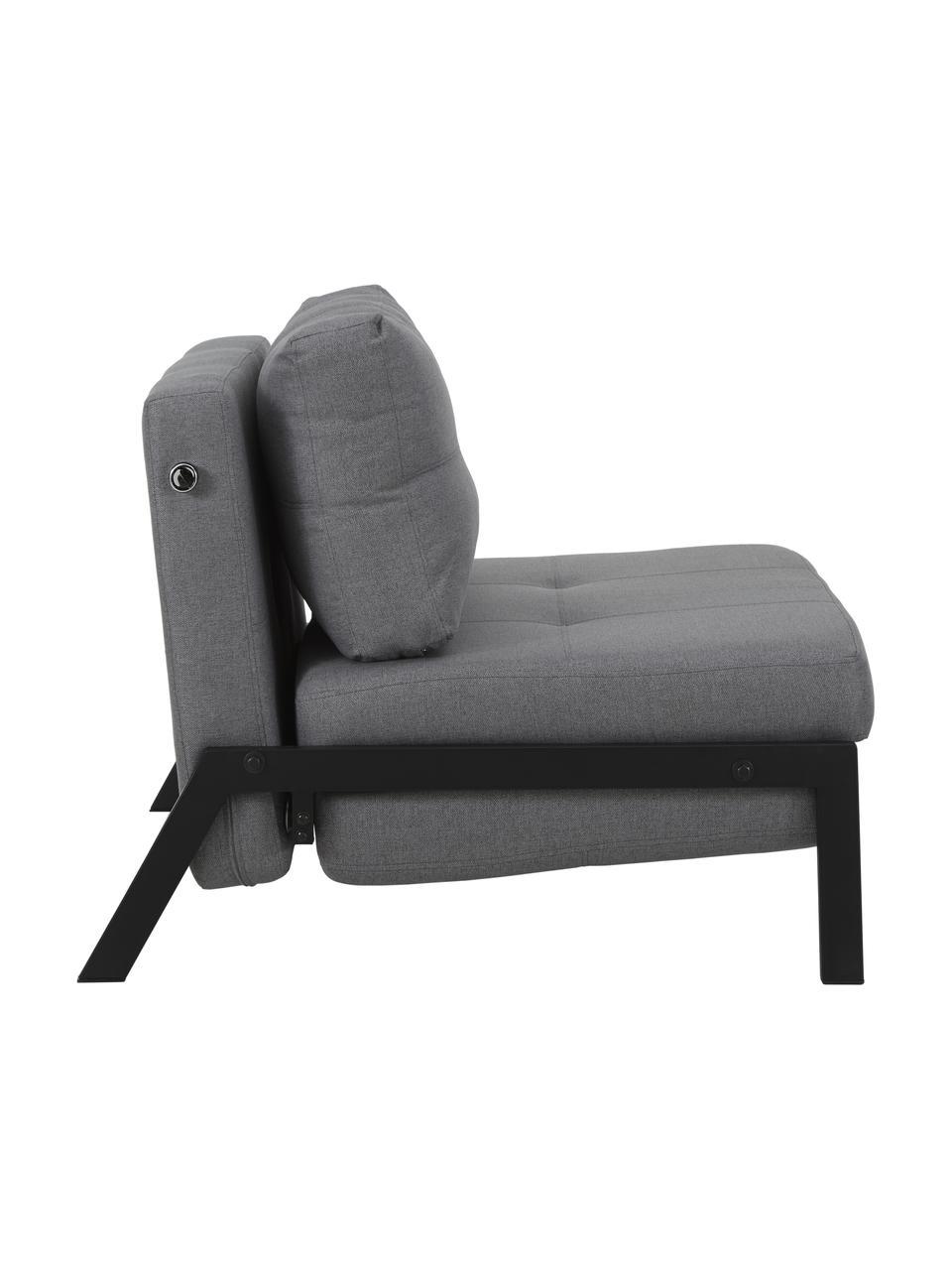 Schlafsessel Edward in Dunkelgrau mit Metall-Füßen, ausklappbar, Bezug: 100% Polyester 40.000 Sch, Webstoff Dunkelgrau, B 96 x T 98 cm