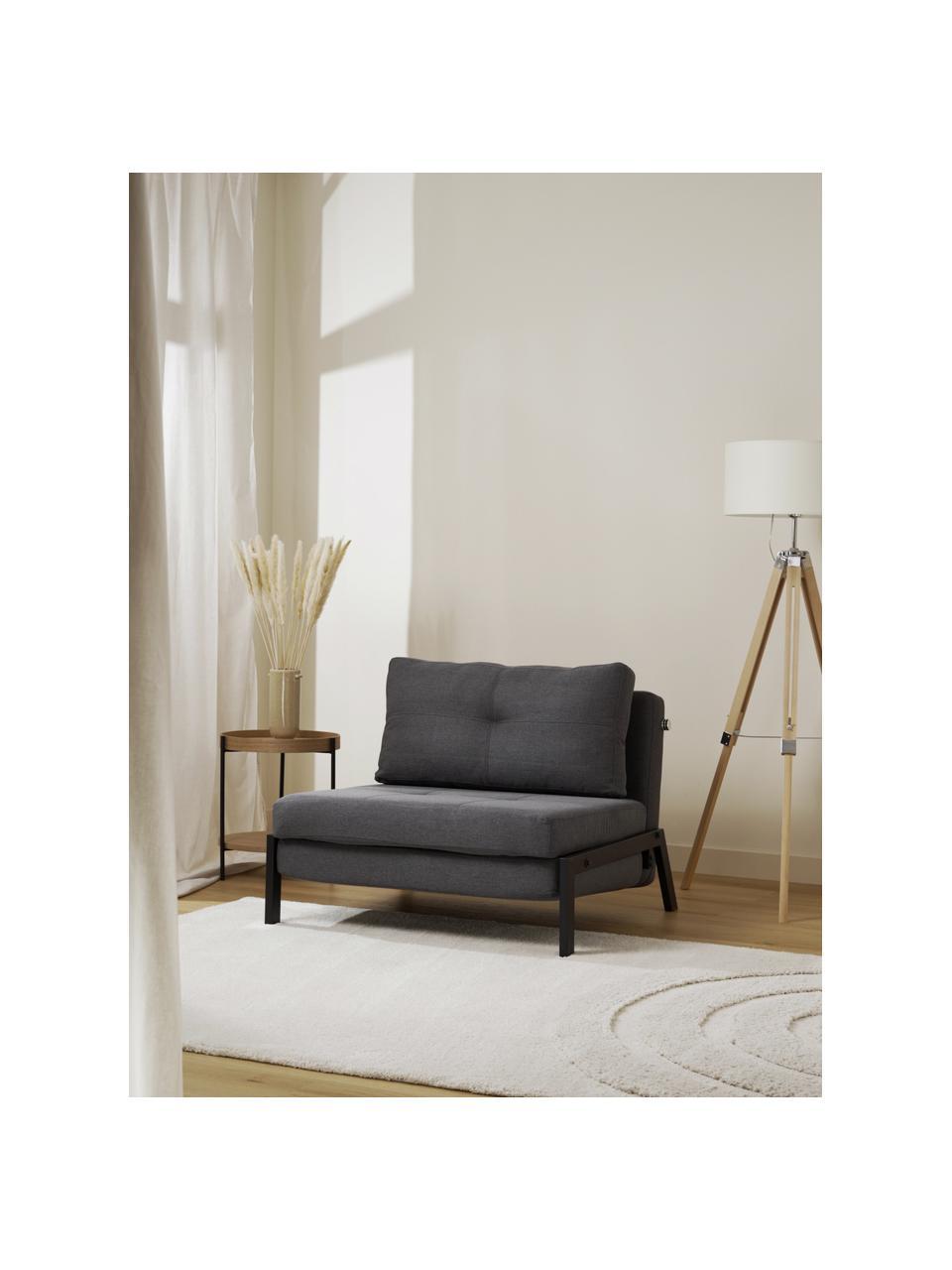 Slaapfauteuil Edward in donkergrijs met metalen poten, uitklapbaar, Bekleding: 100% polyester, Geweven stof donkergrijs, B 96  x D 98 cm
