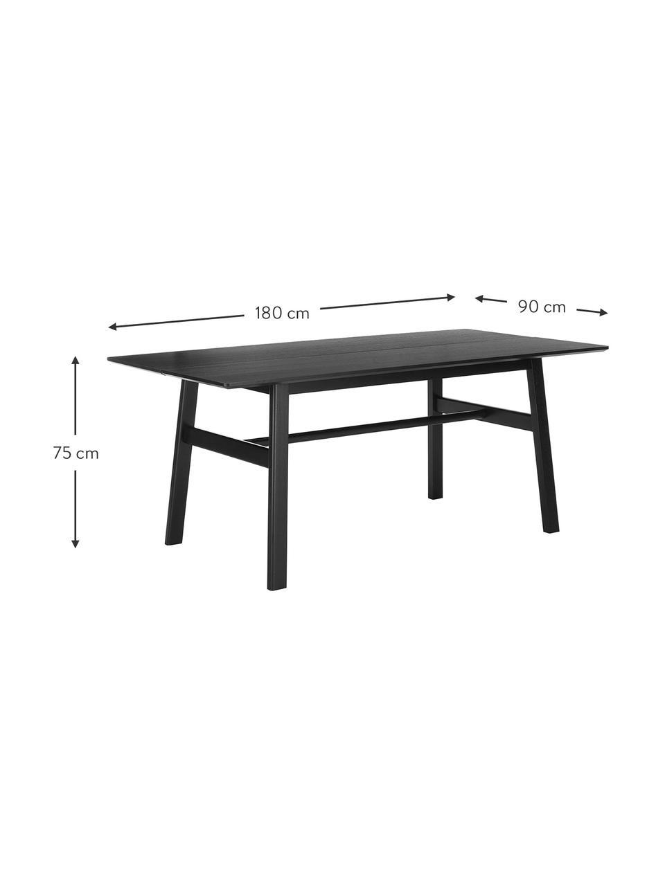 Massivholz Esstisch Larson in Schwarz, Tischplatte: Spanplatte mit Eichenholz, Gestell: Massiver Buchenholz mit E, Eichenholzfurnier, schwarz lackiert, B 180 x T 90 cm