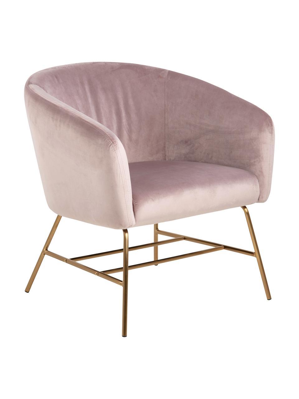Fotel koktajlowy z aksamitu Ramsey, Tapicerka: aksamit poliestrowy Dzięk, Nogi: metal lakierowany, Aksamitny blady różowy, S 72 x G 67 cm