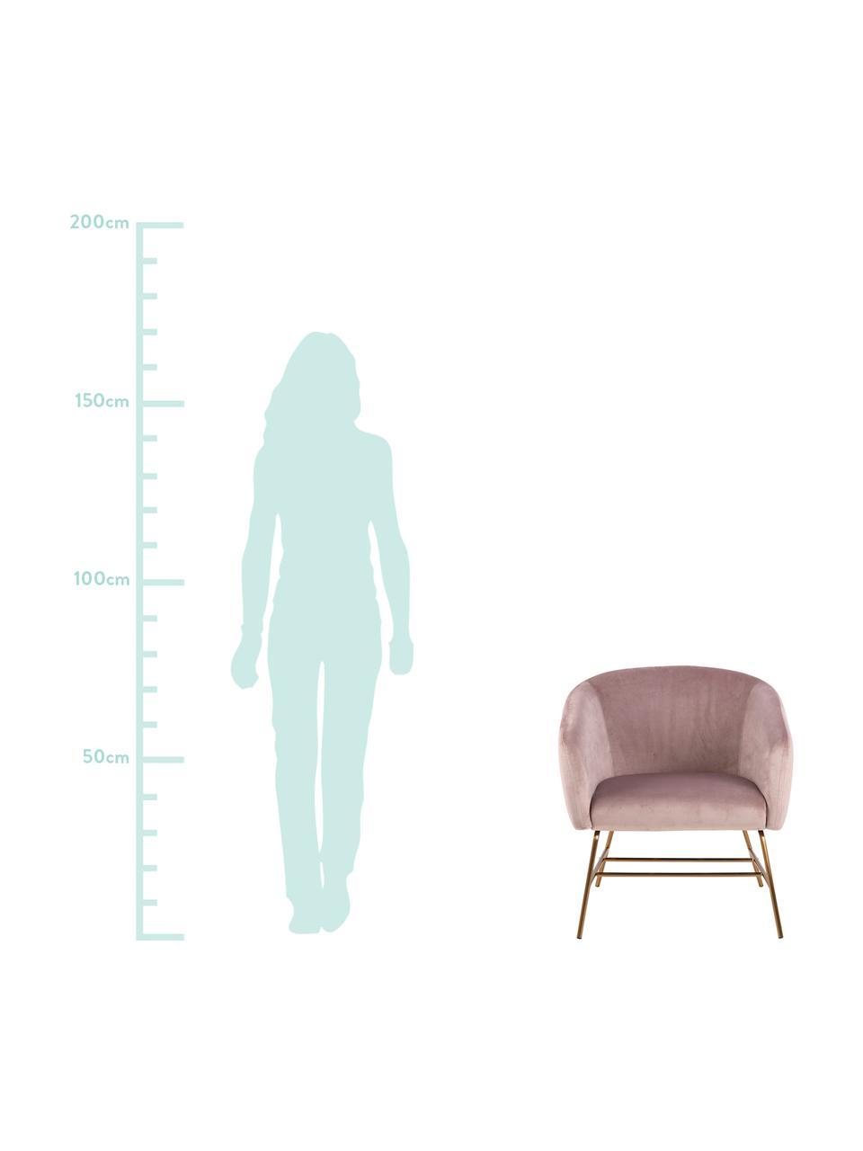 Moderner Samt-Cocktailsessel Ramsey in Rosa, Bezug: Polyestersamt Der hochwer, Beine: Metall, lackiert, Samt Rosa, B 72 x T 67 cm