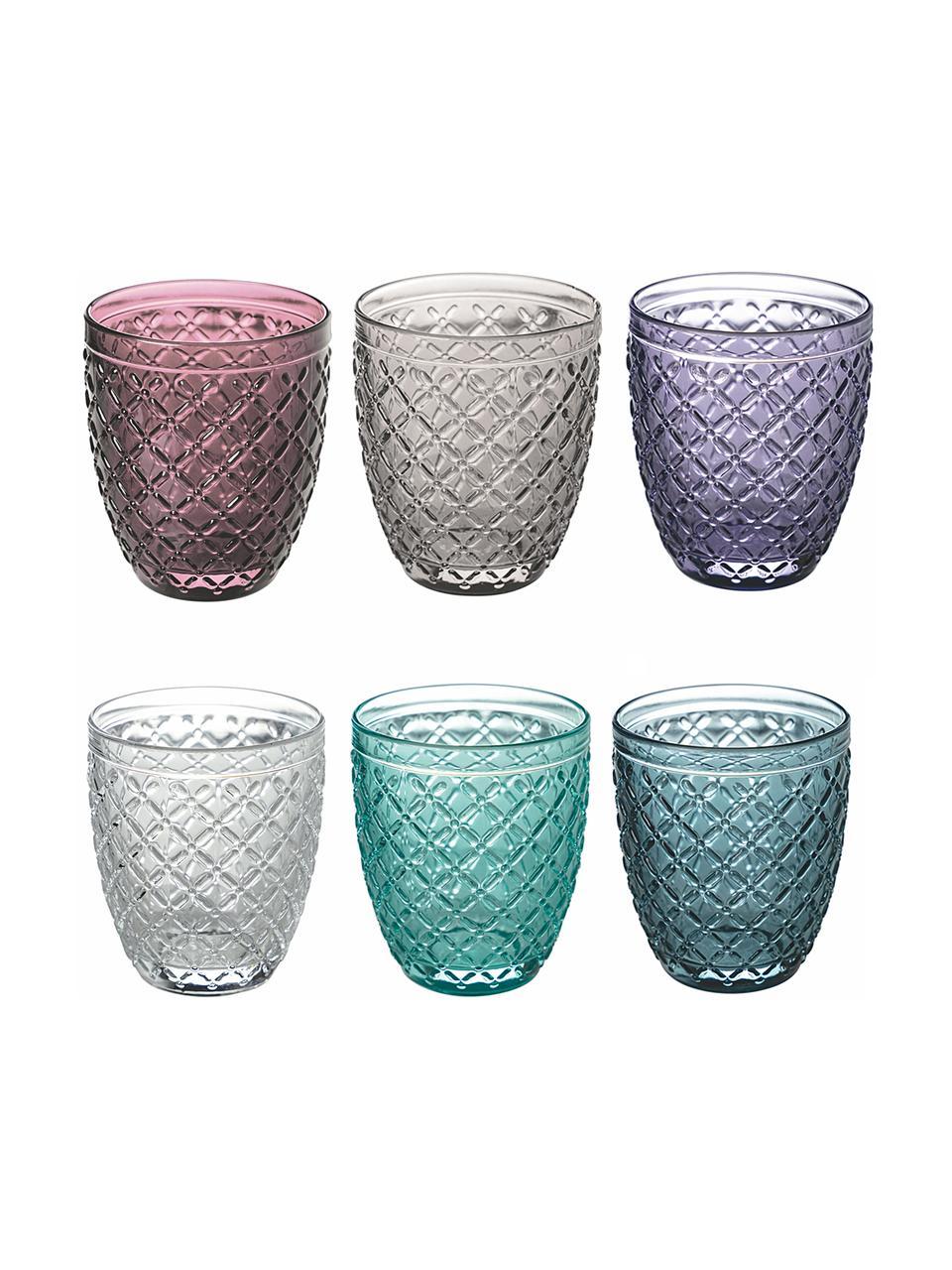 Wassergläser Rombi, 6er-Set, Glas, Mehrfarbig, Ø 8 x H 10 cm